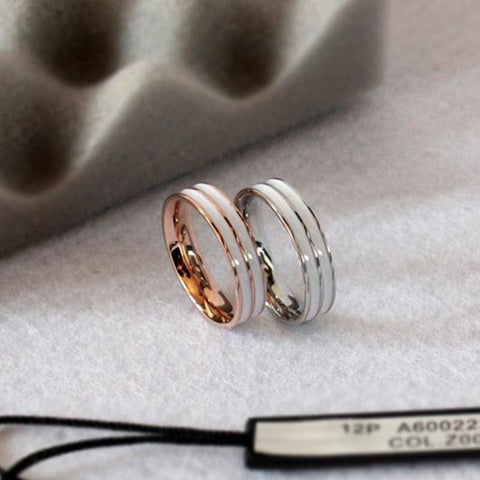 Salah Purity Ring in white with rose gold and silver steel