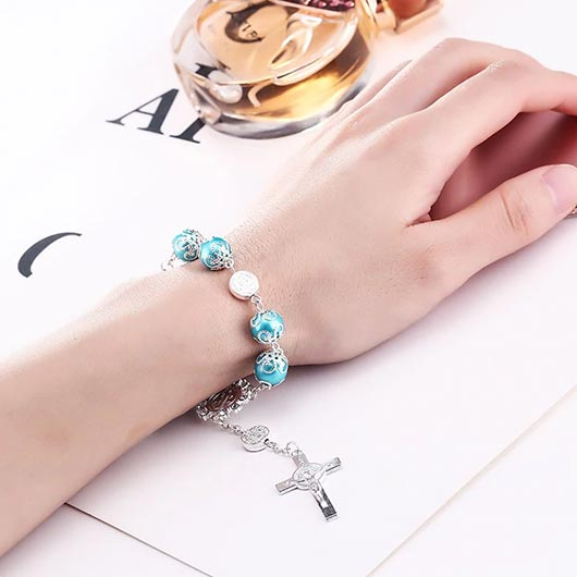 Maria Bracelet with blue pearls and cross pendant Wear On