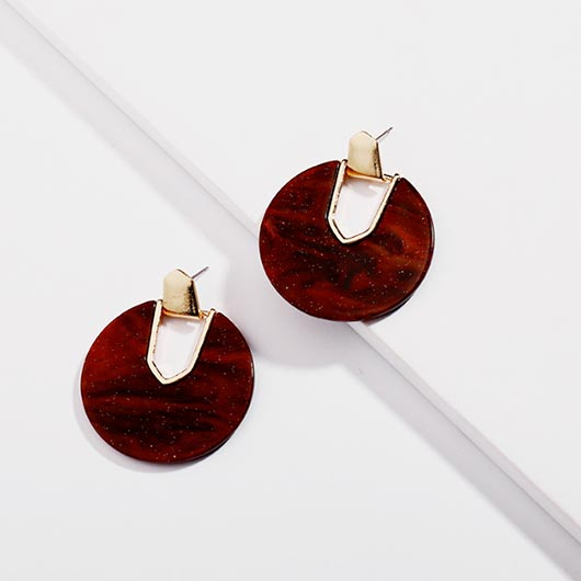 Vashti Earrings in autumn red with golden metal