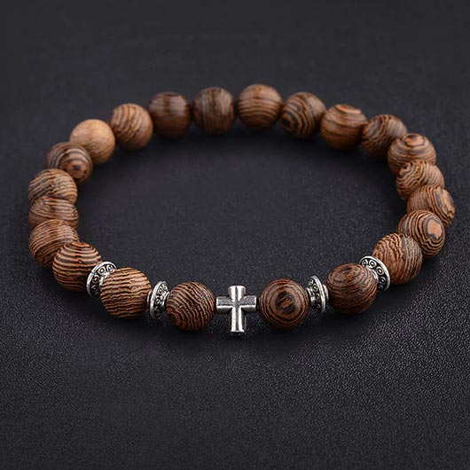 Heman Bracelet with wooden beads and silver steel cross