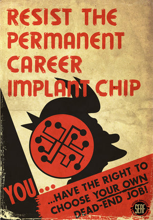 Resist the Permanent Career Implant Chip | Futurama (canvas)