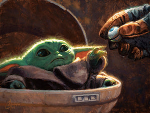 An Unlikely Friend by Christopher Clark | Star Wars Baby Yoda Child canvas