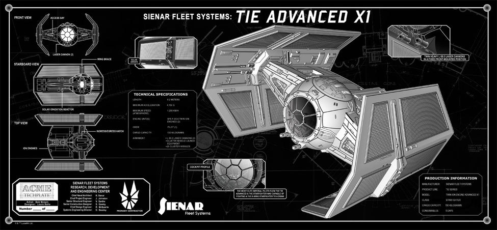 Vader's TIE Fighter Techplate | Star Wars