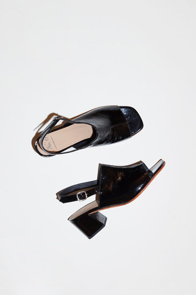 No.6 Leah Sandal in Black Crinkle