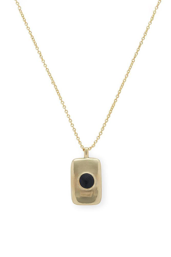 SOKO Bezeled Rectangle Medallion Necklace in Black