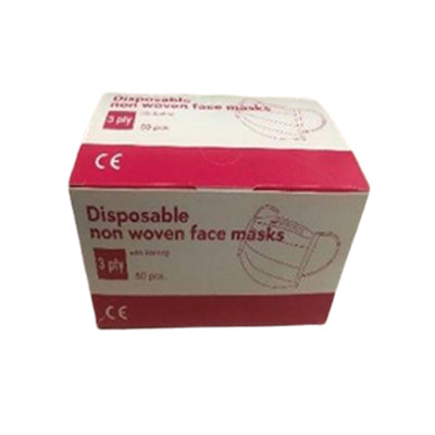 50 Pack of 3 ply face masks with ear loops, available at Mallory Paint Store in WA & ID.
