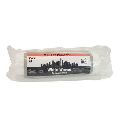 "9"" x 1/2"" white woven paint roller cover, available at Mallory Paint Stores in Washington State and Idaho."