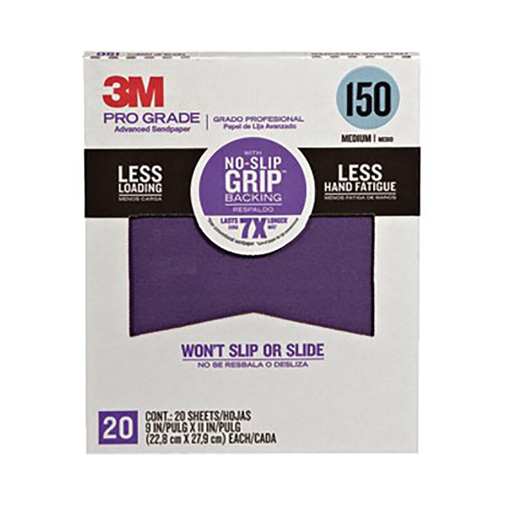 3M 20 pack of 150 grit Pro Grade Non Slip Grip Sandpaper, available at Mallory Paint Store, Washington and Idaho, USA.