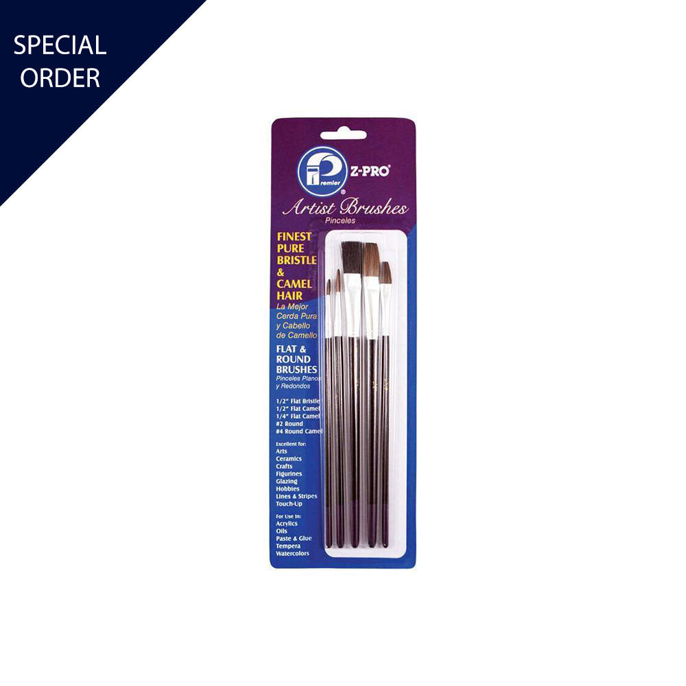 5 Piece Zpro Bristle & Camel Hair Artist Brushes, available at Mallory Paint Store in WA & ID.