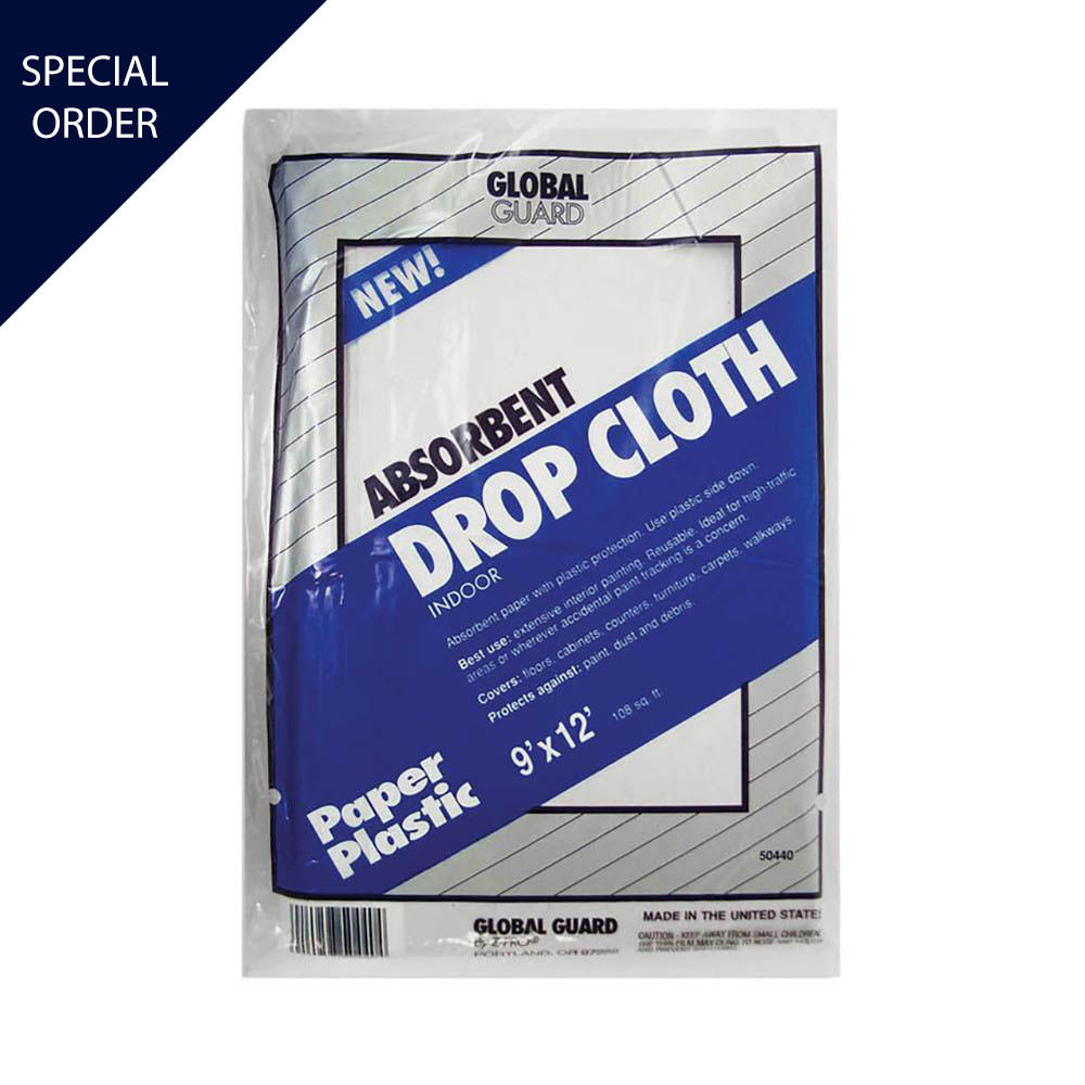 9'x12' Premier Paper and Plastic Drop Cloth, available at Mallory Paint Store in WA & ID.