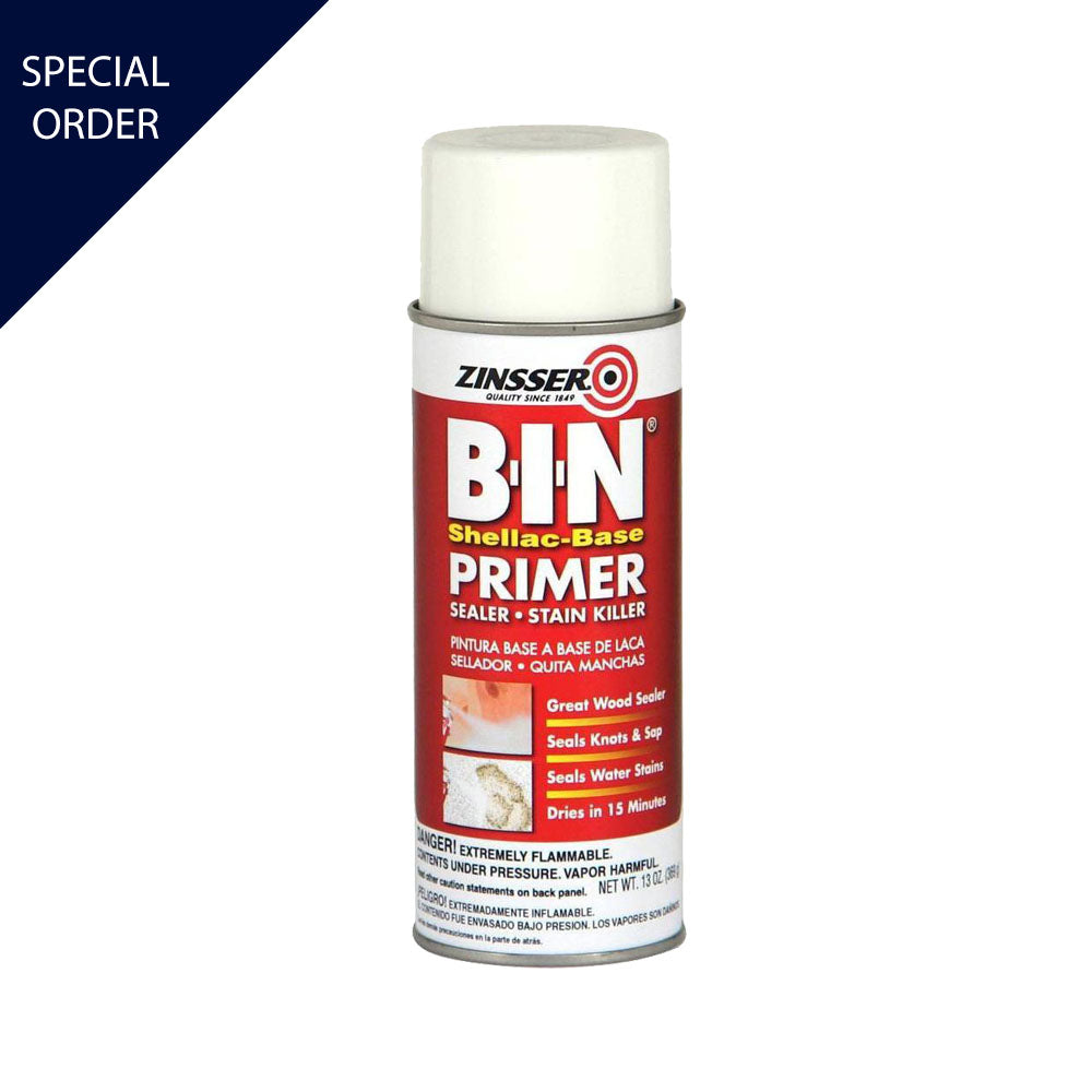 13 oz B I N Primer Sealer Spray, available at Mallory Paint Store in WA & ID.