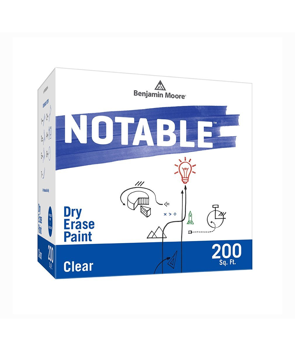 Benjamin Moore Notable Dry Erase Paint in Clear 200 sq. ft, available at Mallory Paint Stores.