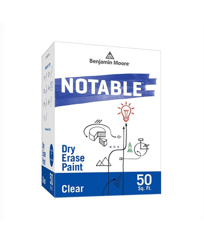Benjamin Moore Notable Dry Erase Paint in Clear 50 sq. ft, available at Mallory Paint Stores.