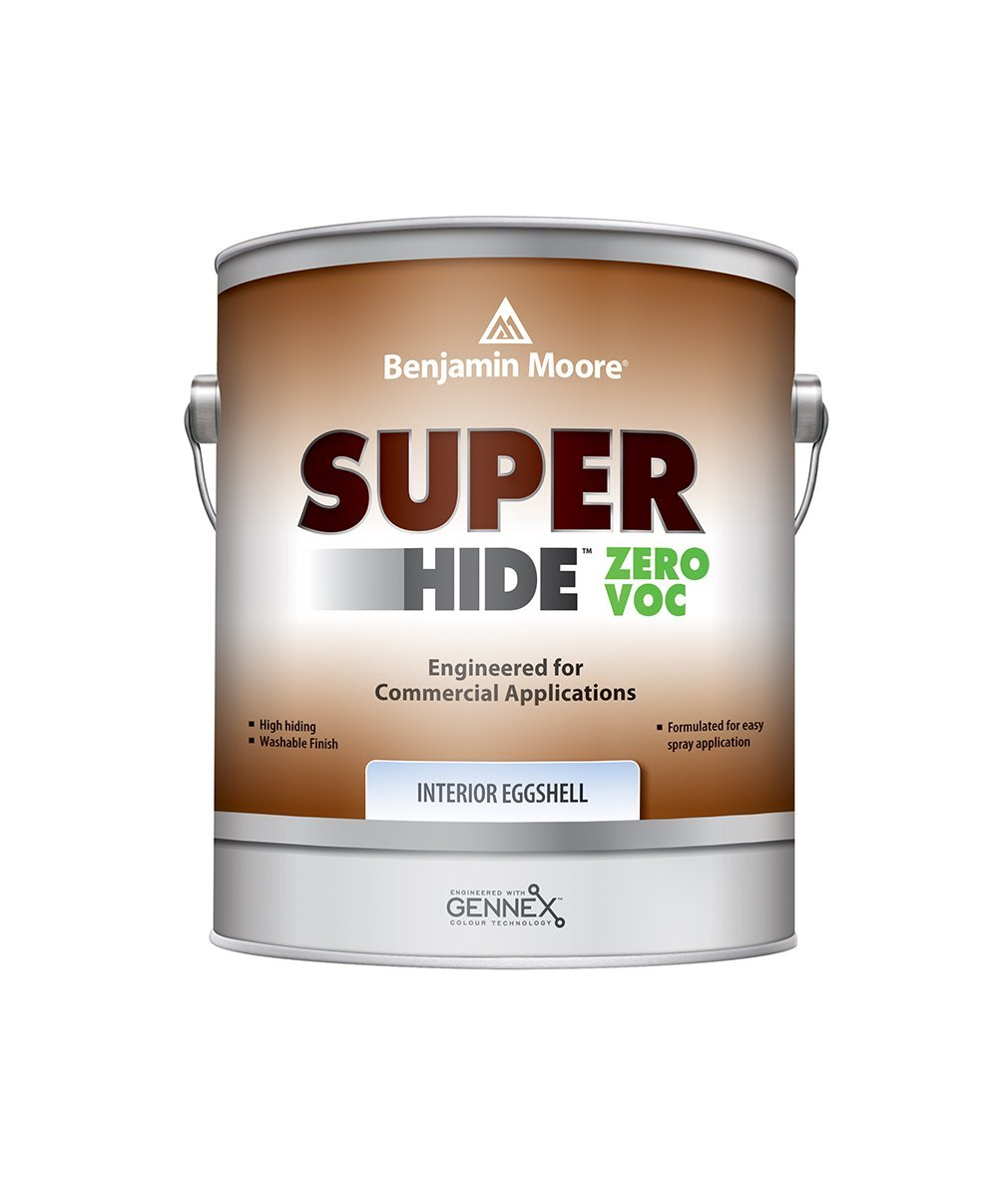 Benjamin Moore Super Hide Zero Eggshell Interior Paint, available at Mallory Paint Stores.