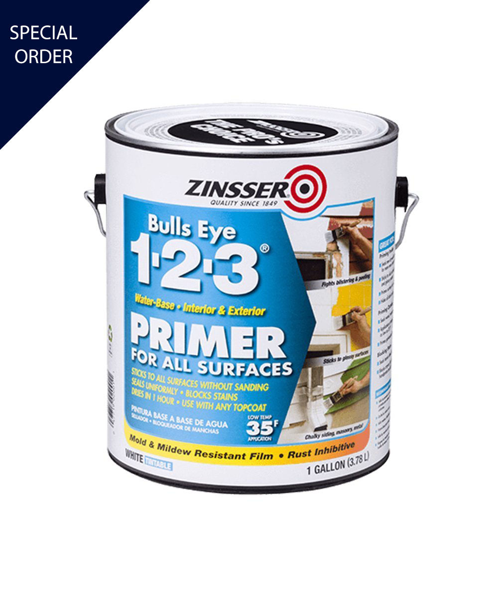 Bullseye 123 waterbase primer and sealer, available at Mallory Paint Store in WA & ID.