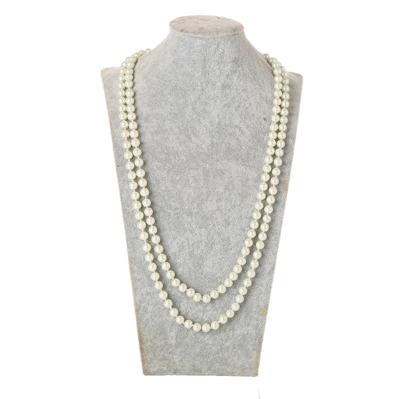 1920s Flapper Girl Great Faux Pearls Flapper Beads Cluster Long Necklace Jewelry