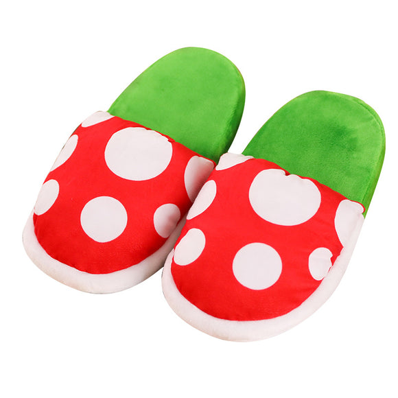 Super Mario Piranha Plants Cannibal Flower Style Plush Slippers Loafer with Pipe Pot Holder for Adults Teens