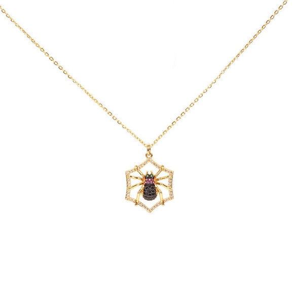 Halloween Gold Plated Spider Pendant Choker Necklace with Hypoallergenic Stainless Steel Linked Chain