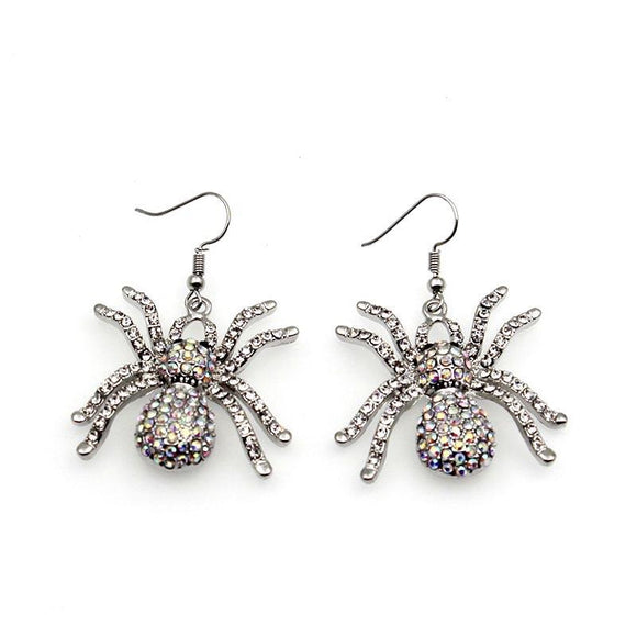 Women Spider Earrings Hot Style Insect With Glass Stone Spider Earrings Halloween Jewelry