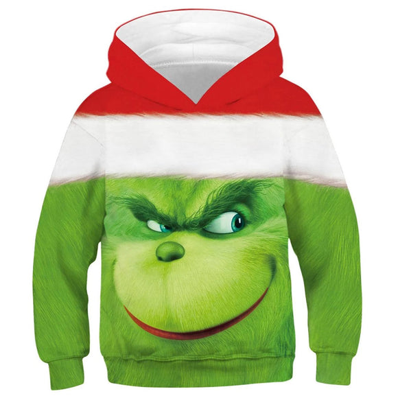 Kids How the Grinch Stole Christmas 3D Printed Christmas Hoodies Long Sleeve Sweatshirt Tops Pullovers
