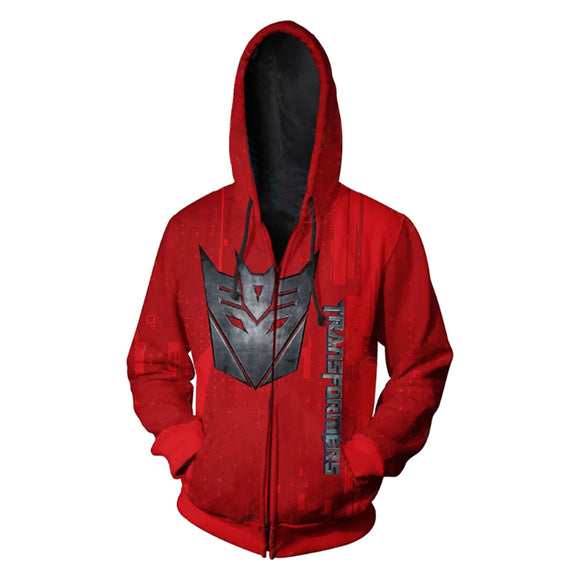 Unisex Transformers Hoodies Decepticon Printed Zip Up Jacket Sweatshirt