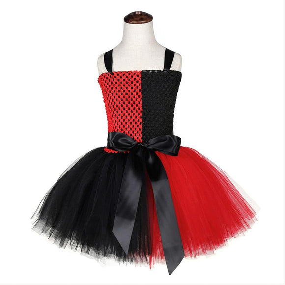 Girls Harley Quinn Tutu Dress with Headband Fancy Cosplay Tutu Dress Tulle Costume Outfit