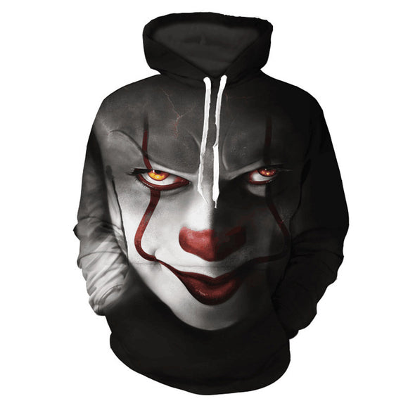 Men's It Pennywise Floral Print Clown Hoodie Long Sleeve Pullover with Pocket