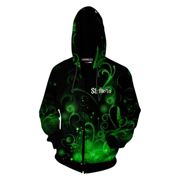Unisex Harry Potter Hooded Coat Slytherin Zip Up Casual Long Sleeve Hoodies Sweatshirt