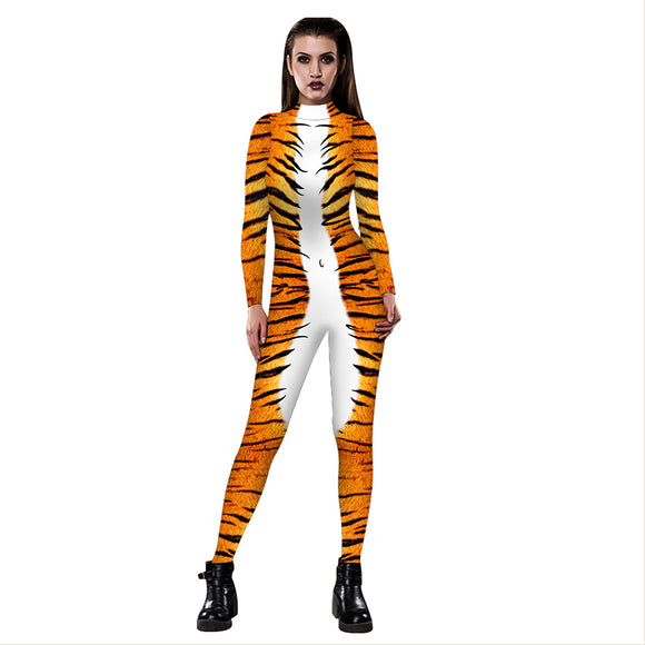 Women's Animal Halloween Costume Tiger 3D Jumpsuit Bodysuit