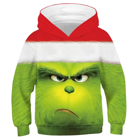 Kids 3D Printing Hoodie How the Grinch Stole Christmas Hooded Pullover Hoodies Sweatshirt