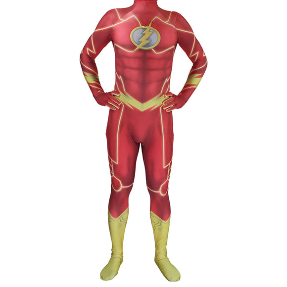 Kids The Flash Lycra Spandex Zentai Halloween Cosplay Costumes 3D Style