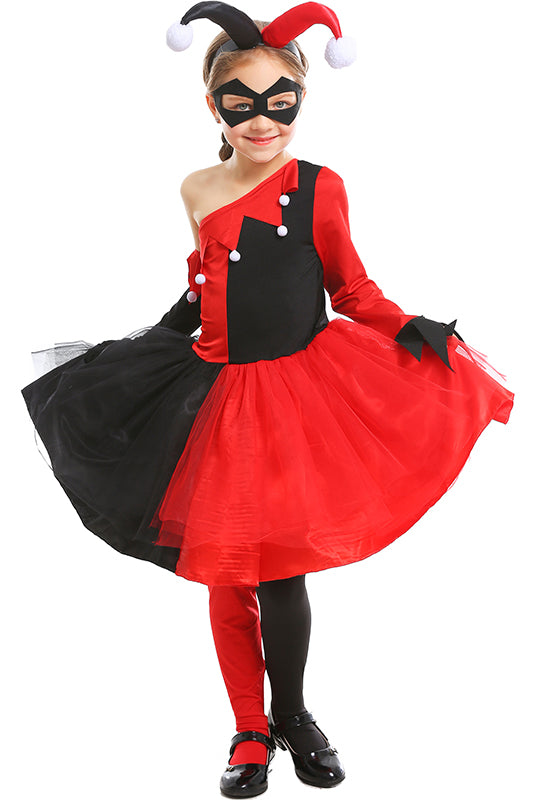 Little Girls Cosplay Costume Suicide Squad Harley Quinn Outfit For Kids