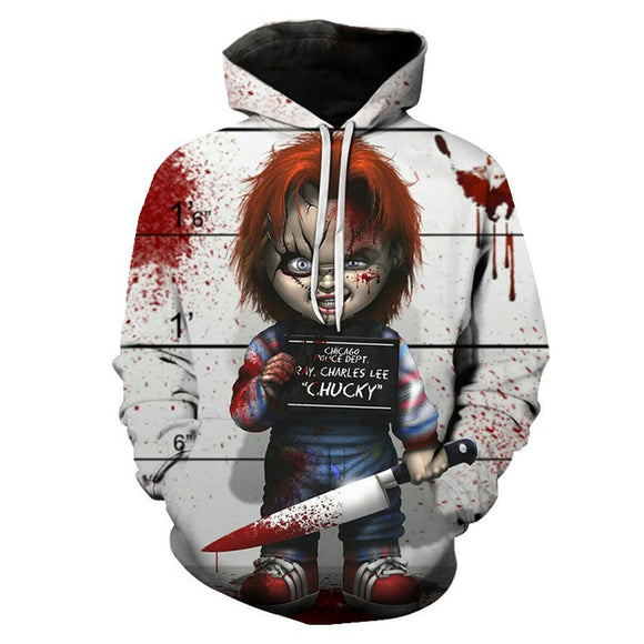 Unisex Child's Play Hoodies Chucky Printed Pullover Jacket Sweatshirt