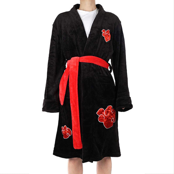 Unisex Naruto Akatsuki Uchiha Itachi Kimono Bathrobe Sleepwear Casual Knee Length Robe Pajamas Cloak