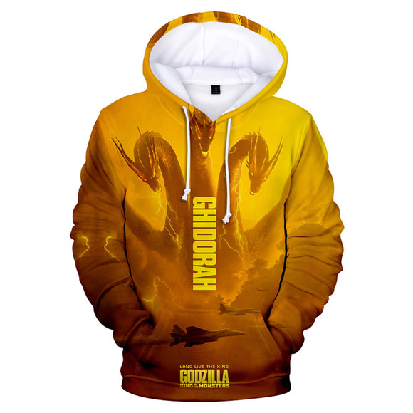 Unisex King Ghidorah Hoodie Godzilla 2 King of Monsters 3D Printed Hooded Pullover Sweatshirt