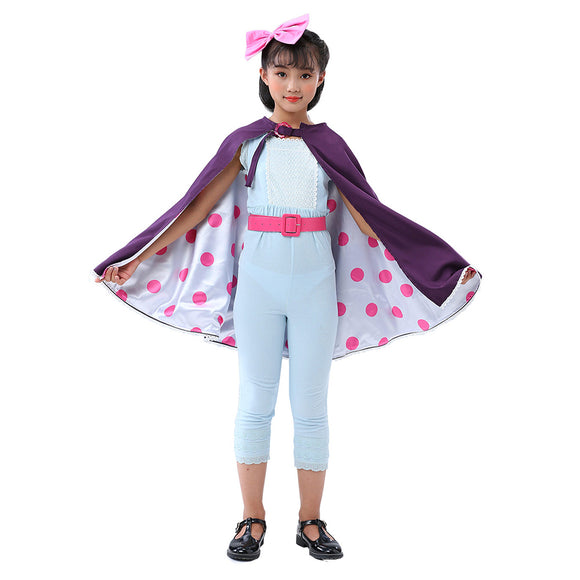 Kids Girls Toy Story Little Bo Peep Cosplay Costume Halloween Cloak Jumpsuit