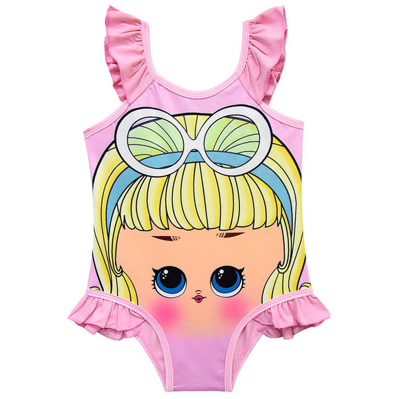 Toddler Baby Girls L.O.L Doll Swimsuits One-Piece Print Ruffle Swimwear Bathing Suit
