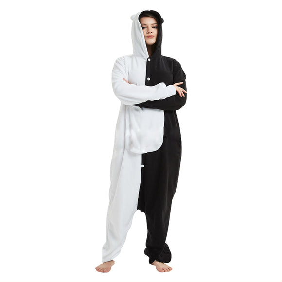 Anime Danganronpa Monokuma Onesie Pajamas Warm Hooded Homewear Jumpsuits Cosplay Costumes