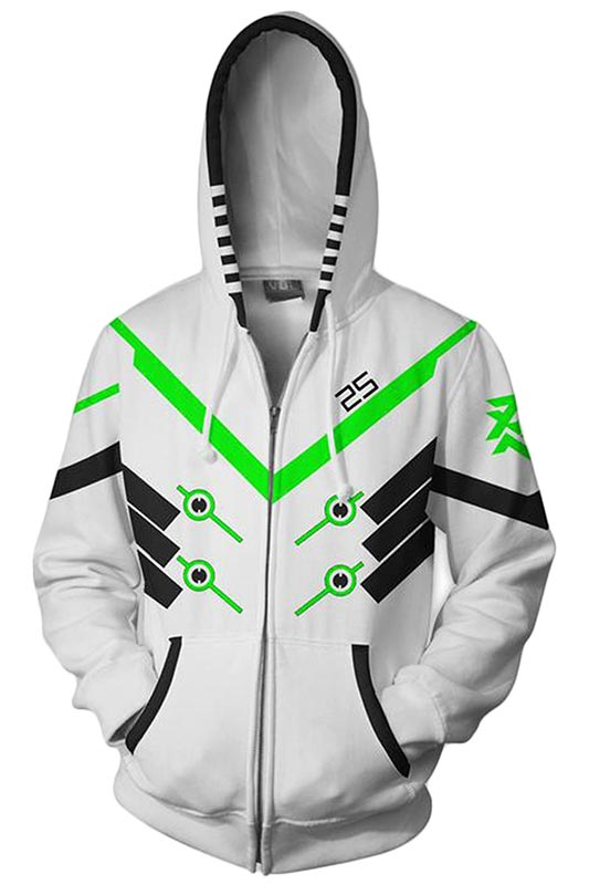 Unisex Shimada Genji Hoodies Game Overwatch Zip Up 3D Print Jacket Sweatshirt