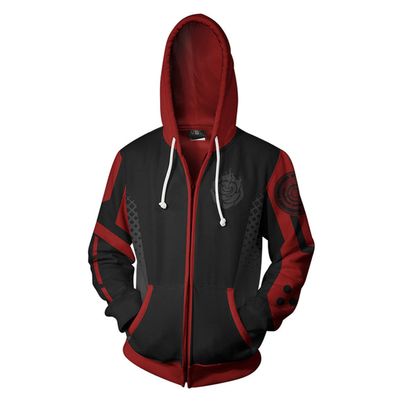Anime RWBY Ruby Rose Cosplay Hoodie 3D Printed Zipper Jacket Sweatshirt