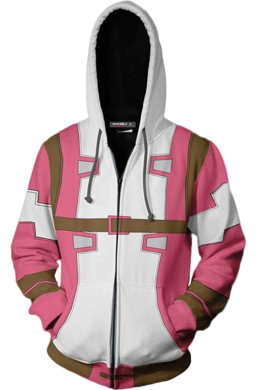 Teen Hoodie Superhero Gwenpool 3D Zip-Up Sweatshirt Unisex Pink