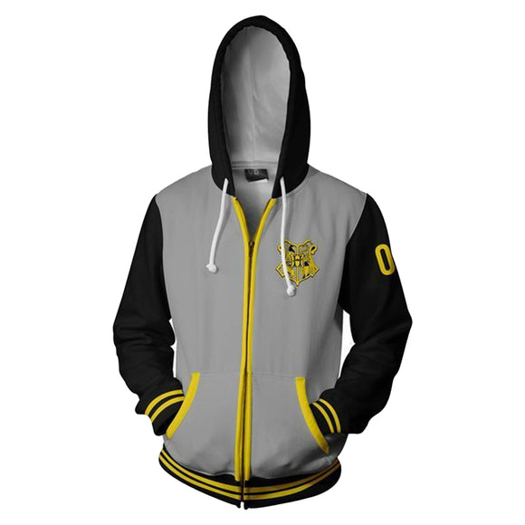 Unisex Hufflepuff Hoodies Harry Potter Zip Up 3D Print Jacket Sweatshirt