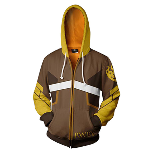 Anime RWBY Yang Xiao Long Cosplay Hoodie 3D Printed Zipper Jacket Sweatshirt
