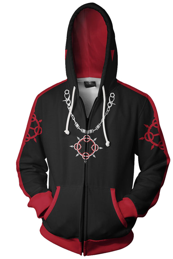 Unisex Axel Hoodies Kingdom Hearts Zip Up 3D Print Jacket Sweatshirt Red