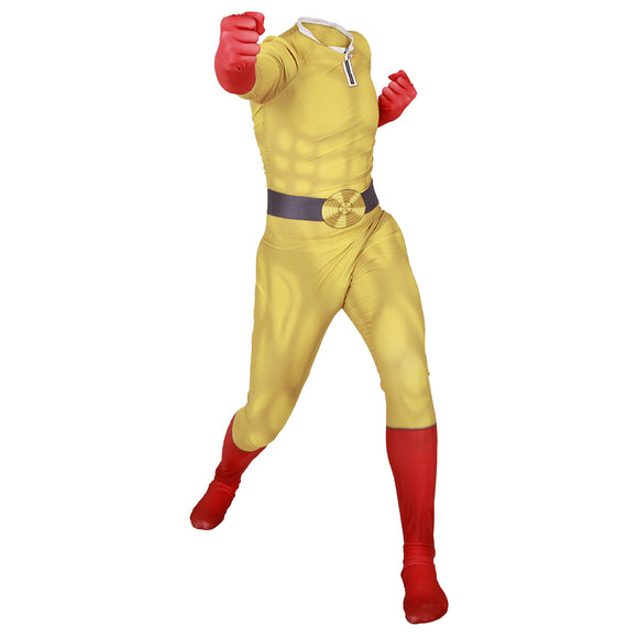 One Punch Man Cosplay Costume Men Zentai Jumpsuit Bodysuit Party Role Play Halloween