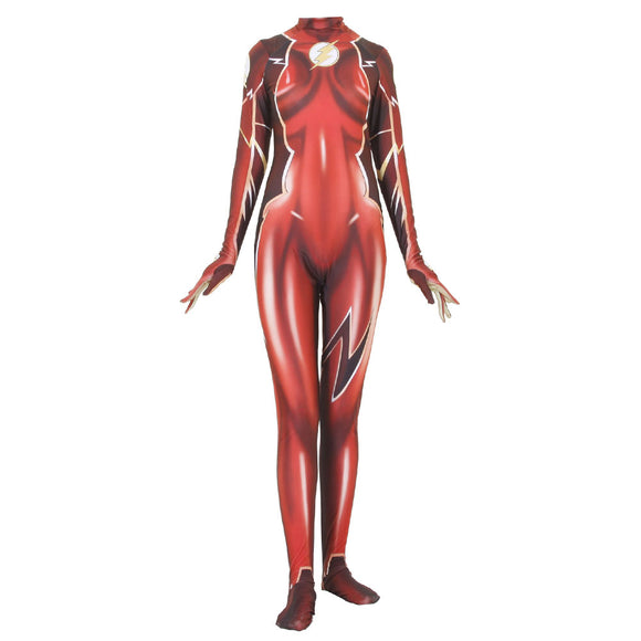 Women Halloween The Flash Lycra Spandex Zentai Halloween Cosplay Costumes 3D Style