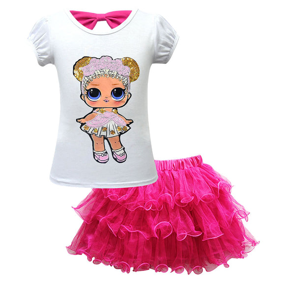 Girls Tutu Tulle Princess Dress L.O.L Surprise Doll Digital Print Sleeveless Gown Dress
