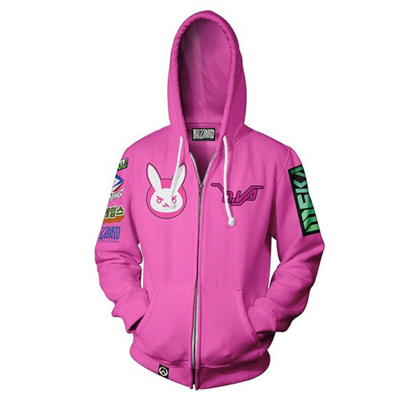 Unisex D.Va Hoodies Overwatch Zip Up 3D Print Jacket Sweatshirt