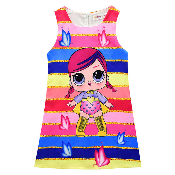 L.O.L Surprise Doll Girls Dress Sleeveless Dress Girls Princess Skirt A-line Skirt