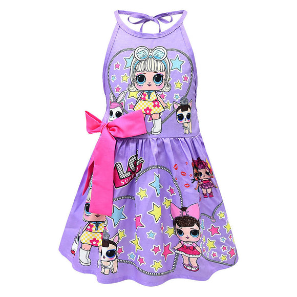 Girls L.O.L Surprise Doll Dress Princess Costume Digital Print Party Gown Dress